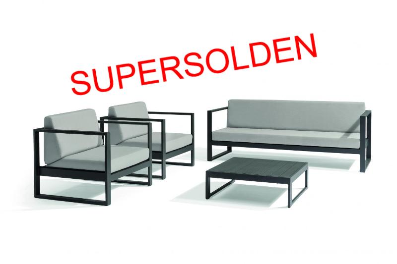 Buitensalon antraciet aluminium met 3-zit en 1-zit met weerbestendige kussens