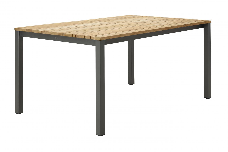 Tuintafel met aluminum onderstel en teak tafelblad