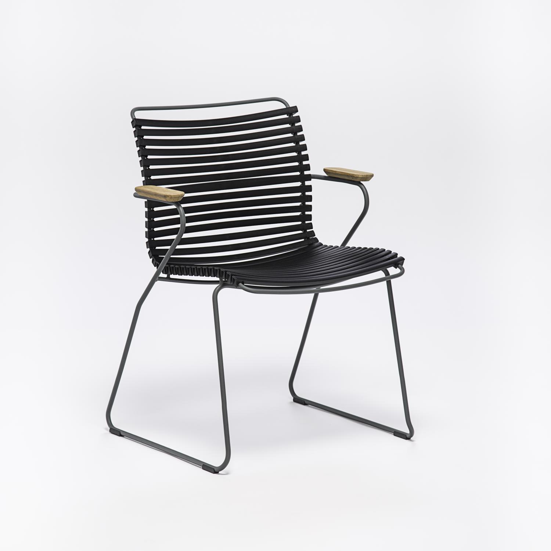 Houe Click chair zwart, tuinstoel met armleuning zwart