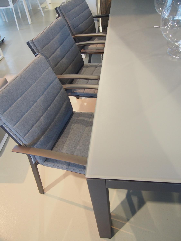 Aluminium Tuintafel Met Glazen Blad.Tuinset Malaga Charcoal Luxe Tuinrama