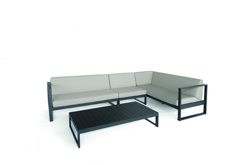 Outdoor Lounge modulair antraciet met weerbestendige kussens Diphano