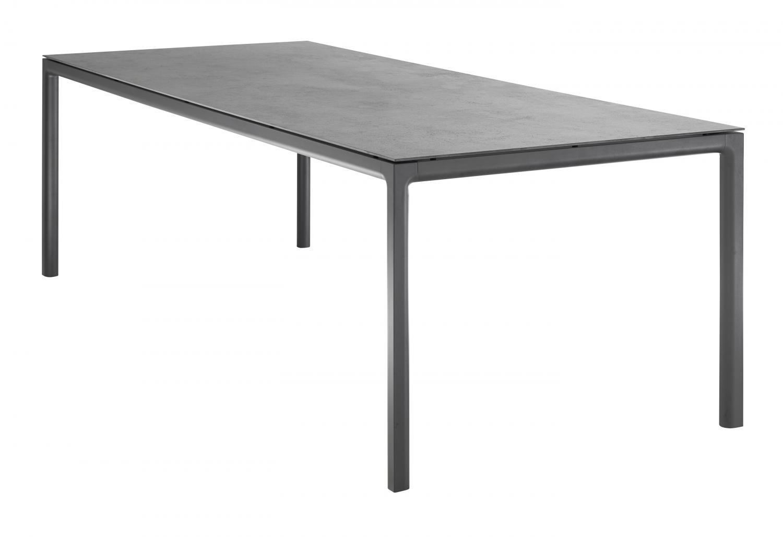 Tuintafel met aluminium onderstel en keramiek tafelblad in donker grijs