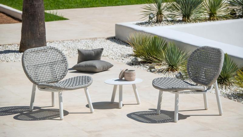 Lounge zetel in wit aluminium