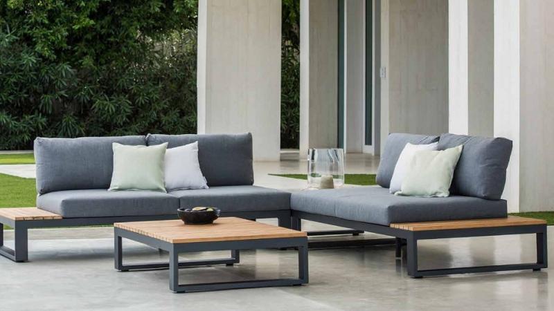Jati Outdoor lounge weerbestendige kussens aluminium en teak