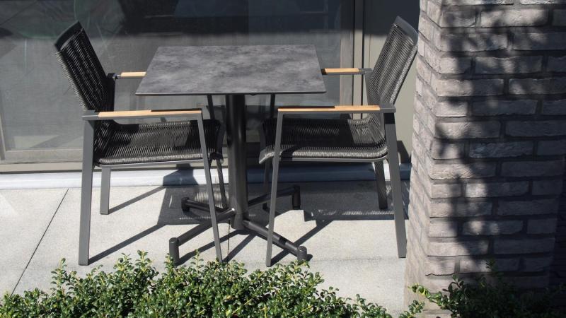 Balkonset tuinmeubelen Horeca terrasmeubelen Plooitafel met aluminium stapelstoelen