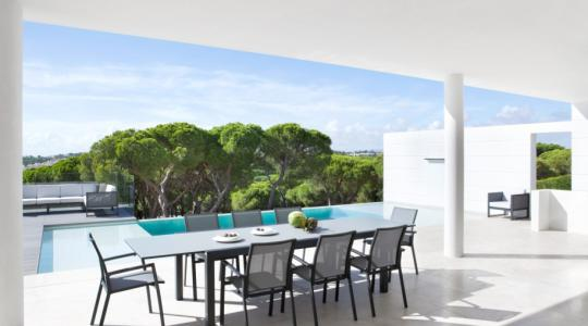 Tuinset aluminium uitschuifbare tafel Jati&Kebon