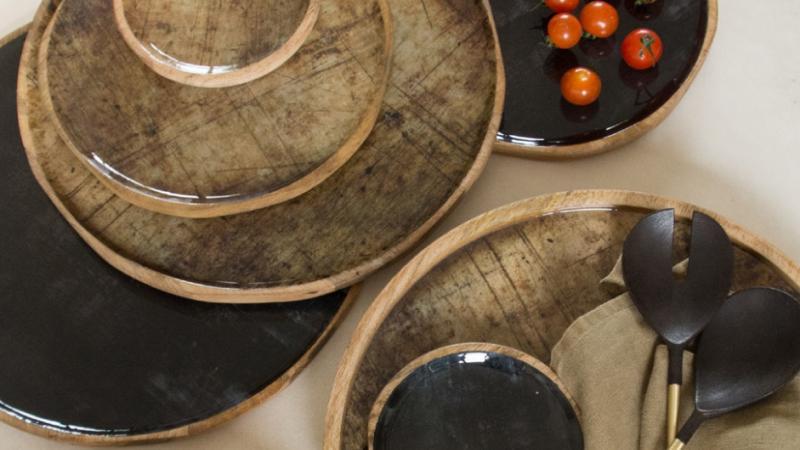 Tuinrama_decoratie_schaal mango hout met keramiek