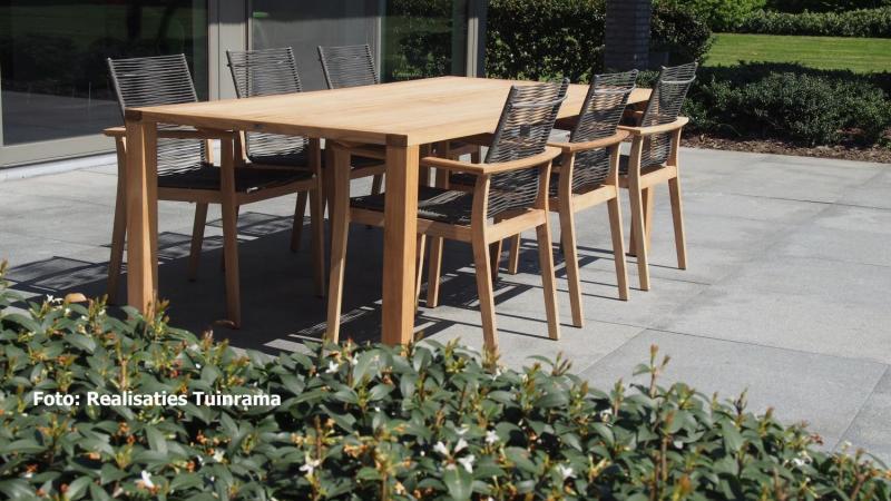 TEAK Tuinmeubelen, tuinset met teak tafel 220x100 met teak tuinstoelen