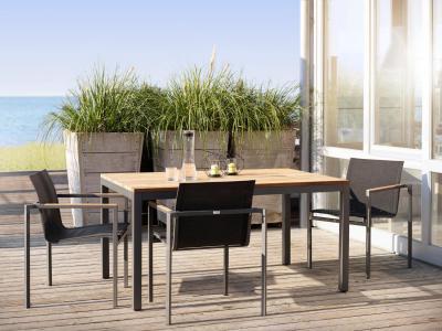 Tuinset aluminium antraciet met tuinstoelen met textielene, Solpuri