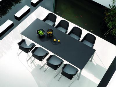 Tuinset Wicker stoelen met inox frame met tafel op wielen Manutti