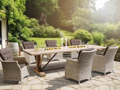 Tuinset met Wicker stoel met hoge rug en teak tafel van 3 m. kettler