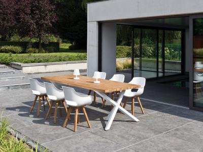Recyclage Teak tafel 250x100 met aluminium onderstel 6 kuipzetel met teak pootjes