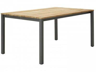 Teak tuinmeubelen tafel aluminium poten antraciet met tafelblad in teak