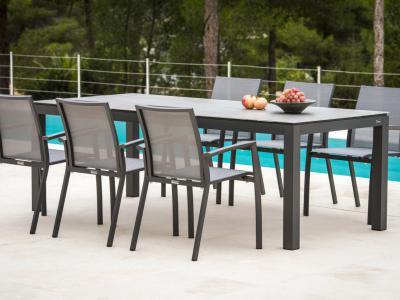 Tuinset met 6 aluminium stoelen antraciet