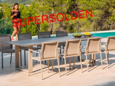 Tuinset Jati&Kebon 8 Elida tuinstoelen Ely tuintafel aluminium 280 x100 in zandkleur
