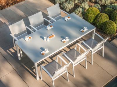 Tuinset met 6 aluminium stoelen wit