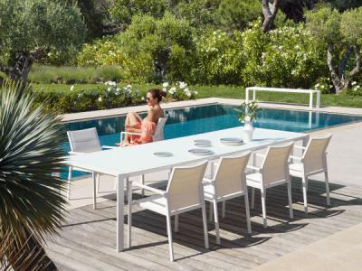 Tuinset Aluminium wit Tafel 280cm met 8 stoelen, ook verkrijgbaar met tafel 220cm en 6 stoelen textilene