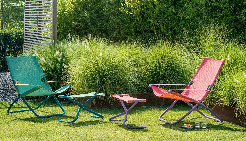 Snooze deck chair in lila/roze en blauw/groen