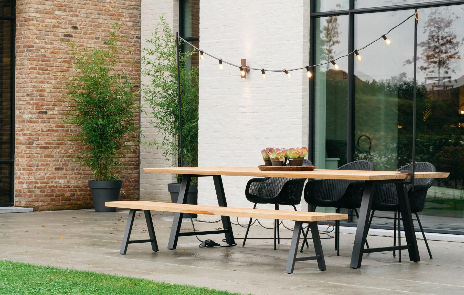 Tuinset teak - Vincent Sheppard - tuinset met bank - matteo tafel 285 - light my table - Edgar steel base