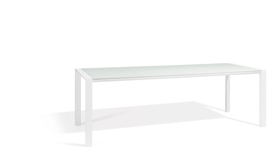 Witte tuintafel in aluminium met glazen blad 220x90cm