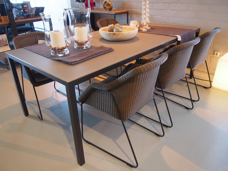Tuinset met 6 stoelen en aluminium tafel zwart/taupe